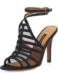 Neiman Marcus Aminda Strappy Mesh Inset Sandal Black