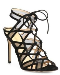 Gianvito Rossi Suede Mesh Lace Up Cutout Sandals