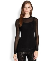 BCBGMAXAZRIA Agda Sheer Long Sleeve Tee