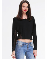 Black Long Sleeve Contrast Mesh Yoke T Shirt