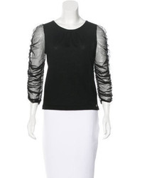 Chanel Cashmere Mesh Paneled Top