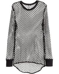 H&M Long Sleeved Mesh T Shirt Black Ladies