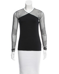 Akris Mesh Accented Long Sleeve Top