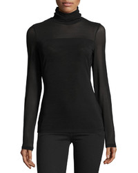 Patrizia Luca Long Sleeve Mesh Turtleneck Tee Black