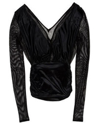 Saint Laurent Yves Long Sleeve Mesh Top