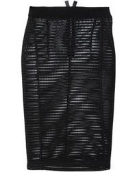 Black Mesh Pencil Skirt