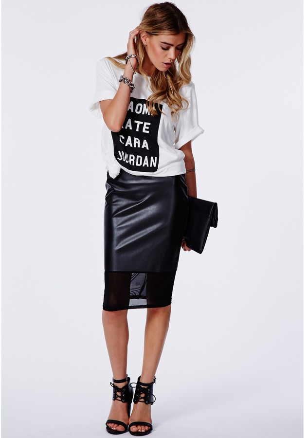 Missguided Bess Faux Leather Mesh Hem Midi Skirt Black | Where to ...