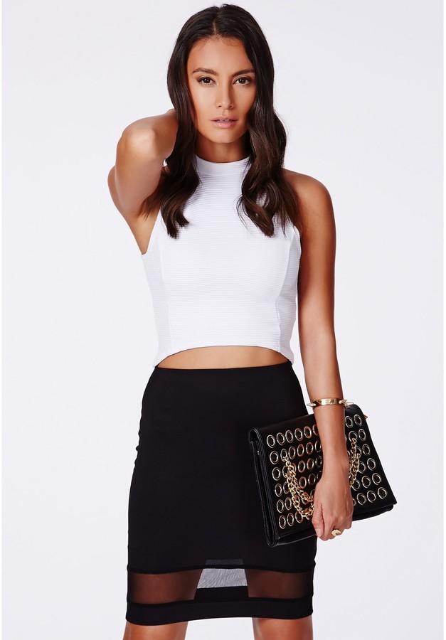 fe14ddb38b Missguided Jeevana Black Mesh Hem Pencil Skirt, $25   Missguided ...
