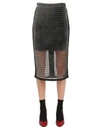 Techno Mesh Pencil Skirt