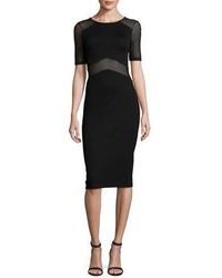 French Connection Arrow Mesh Inset Sheath Dress Black