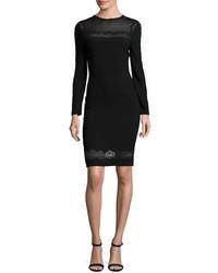 Elie Tahari Candice Long Sleeve Lace Trimmed Sheath Dress Black