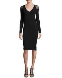 Fuzzi Illusion Long Sleeve Tulle Sheath Dress Black