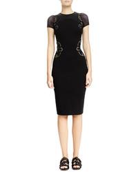Stella McCartney Mesh Inset Floral Embroidered Sheath Dress Black