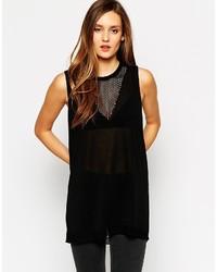 Sisley Knitted Longline Top In Mesh