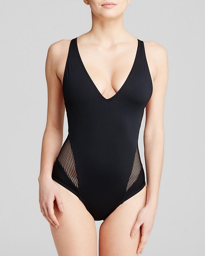 7600e3a113 Carmen Marc Valvo City Slick V Neck One Piece Swimsuit, $117 ...