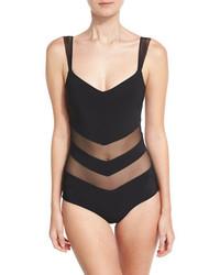 Chiara Boni La Petite Robe Ione Illusion Mesh Inset One Piece Swimsuit Black