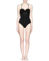 Marysia Maui Cutout Back Halter Zigzag Maillot Swimsuit