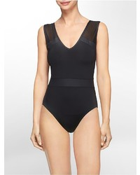 Calvin Klein Mesh V Neck One Piece Swimsuit