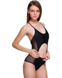 Romwe Sexy Semi Sheer Cut Out Black Swimsuit