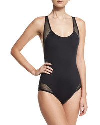 Carmen Marc Valvo Sporty Soul Mesh Zip Back One Piece Swimsuit