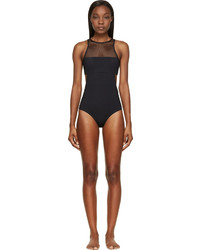 Alexander Wang T By Black Mesh Matte Tricot One Piece Swimsuit