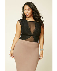 Forever 21 Plus Size Lace Mesh Bodysuit
