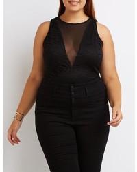 Charlotte Russe Plus Size Lace Mesh Bodysuit