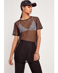Missguided airtex mesh tunic black medium 924734