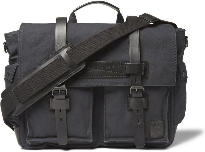 Black Messenger Bags Belstaff Colonial Leather Trimmed Cotton Canvas Bag