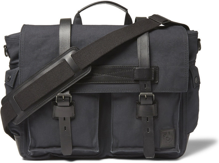 30412e521b Belstaff Colonial Leather Trimmed Cotton Canvas Messenger Bag, $595 ...