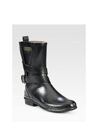 Burberry Mid Calf Buckle Rain Boots Black