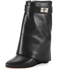 Calfskin shark lock fold over bootie medium 4123276