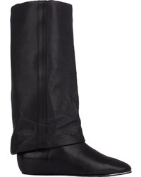 See by Chloe Cuffed Wedge Mid Calf Boots Black