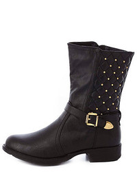 Charlotte Russe Quilted Studded Belted Mid Calf Boots