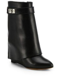 Givenchy Shark Lock Leather Pants Mid Calf Wedge Boots