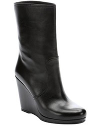 Prada Sport Black Leather Nappa Platform Wedge Mid Calf Boots