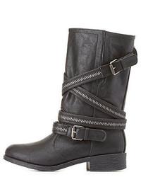 Bamboo Zipper Belted Mid Calf Moto Boots
