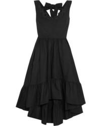 Fendi Appliqud Cotton Taffeta Midi Dress Black