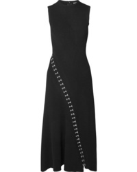 Alexander McQueen Asymmetric Eyelet Embellished Ribbed Stretch Knit Midi Dress