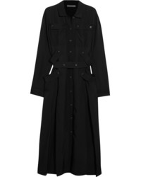 Bottega Veneta Belted Voile Midi Dress Black
