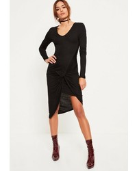 Missguided Black Ruched Side Long Sleeve Midi Dress