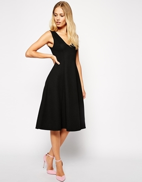 b1bfa5062a ... Black Midi Dresses Asos Collection Midi Skater Dress With Deep V Neck  In Texture ...