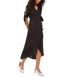 Topshop Jacquard Wrap Midi Dress