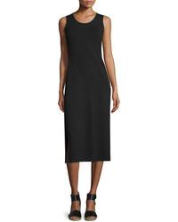 Eileen Fisher Jersey Midi Dress Black Petite