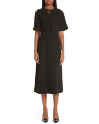 Burberry Kaly D Ring Detail Silk Wool Dress