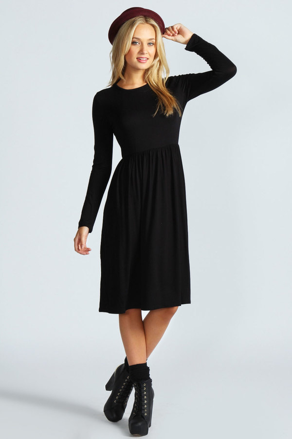 5b3a34bb622c ... Black Midi Dresses Boohoo Mia Long Sleeve Midi Dress ...