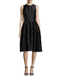 Michael Kors Michl Kors Fil Coupe Midi Bell Dress Black