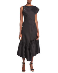 3.1 Phillip Lim One Shoulder Asymmetric Midi Cocktail Dress W Embellisht