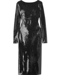 Tom Ford Open Back Sequined Satin Dress Black