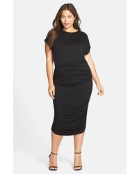 Plus size side ruched jersey midi dress medium 3753233